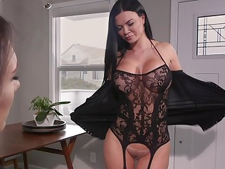 Hot MILF loves to have a pussy grinding on her face increased by she loves strap-on sex