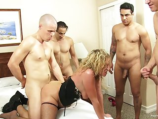 Blonde wife teases will not hear of husband's friends and gets gangbanged