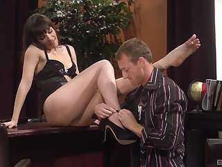 Untidy cumshot on ass of provocative uncle Dana DeArmond