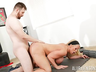 Fat ass cougar leaves young trainer almost demolish her vag