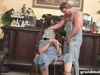 Horrid obese granny gives a blowjob and rimjob to three kinky man