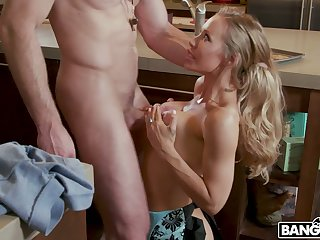 Sinful busty blonde MILFie housewife Nicole Aniston rides dick in the kitchen