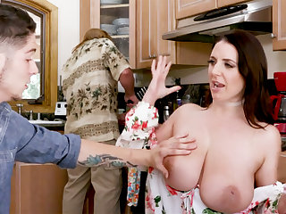 Shy stepson never saw such huge tits before
