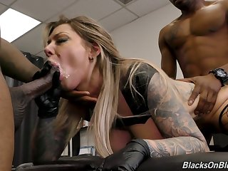 Soaked cunt be required of marvelous beefy breasted Karma RX is stretched by black studs