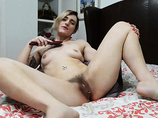 Innocent Lady Takes Off Clothes and shows hairy muff