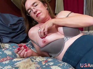 USA inexpert granny shows her big jugs and hairy pussy