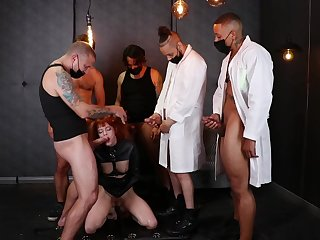 Hunks are parceling out this ginger's pussy hither steely gang bang fetish