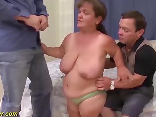 perishable chubby flexible mature midget and her midget husbend in a rough triad fuck orgy
