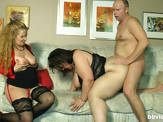 One lucky guy having threesome mating with two fat white women