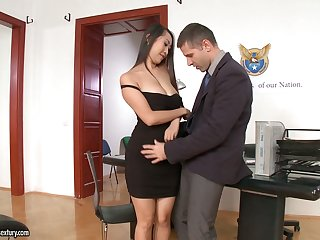 Several slutty secretaries including Asian Sharon Lee urgency strong cock in the sky top