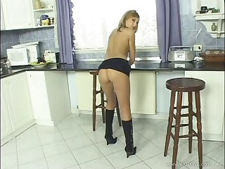 Pornstar with respect to miniskirt shows her scrupulous ass and pussy with respect to this solo pretence