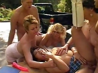 Dank outdoor orgy with Sharon Homeland and Baseball designated hitter horny stunners