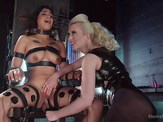 Blonde mistress treats the busty babe like she's a related for sex