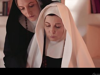 Four sinful mature nuns are licking and munching each others pussies
