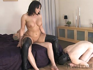 Slave husband watches painless Mistress Carly rides another man's dick