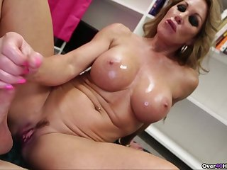 Big fake boobs pretty good Farra Dahl loves to milk the brush lover's cock