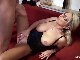 German blonde mature pleased young boy give hard fianc�